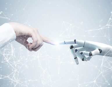 two hands, one human one robotic, reaching out to touch each other against a background of points and lines